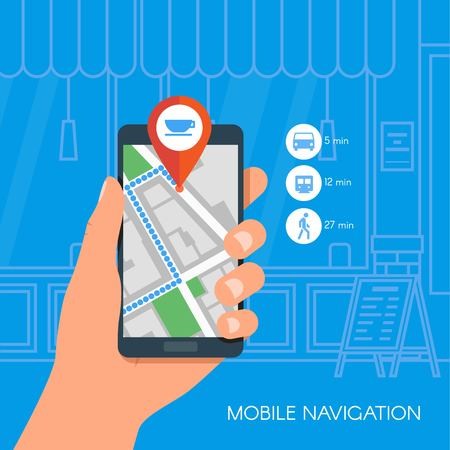 Illustration pour Mobile navigation concept vector illustration. Hand holding smartphone with gps city map on screen and route. Check-in symbols. Flat design. - image libre de droit