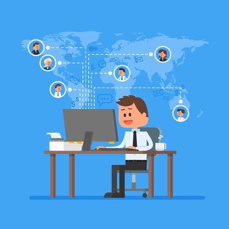 Ilustración de Remote team working concept vector. Work from home illustration in flat style design. Remote business control and project management. Freelance job. Social network and internet friends concept. - Imagen libre de derechos