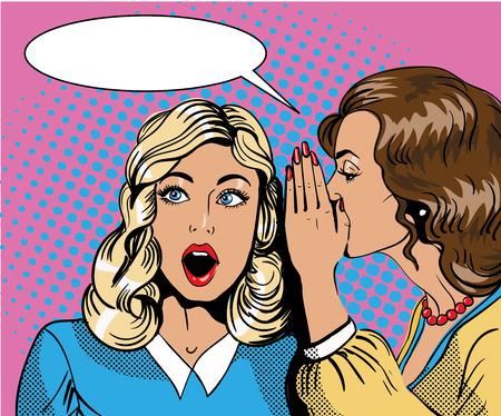 Illustration pour Pop art retro comic vector illustration. Woman whispering gossip or secret to her friend. Speech bubble. - image libre de droit