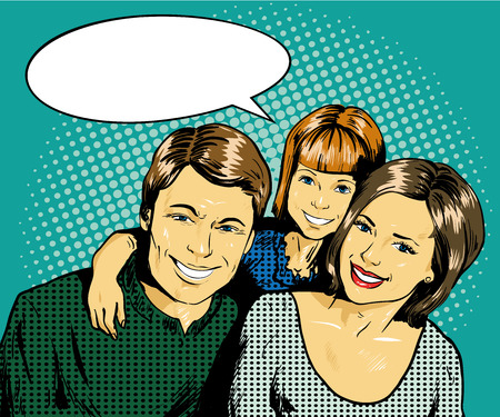 Illustration pour Happy family with kid. Vector illustration in retro comic pop art style. Concept of family. - image libre de droit