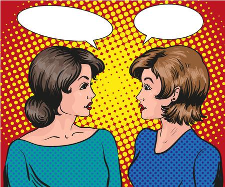 Illustration pour Pop art retro comic vector illustration. Two woman talk to each other. - image libre de droit