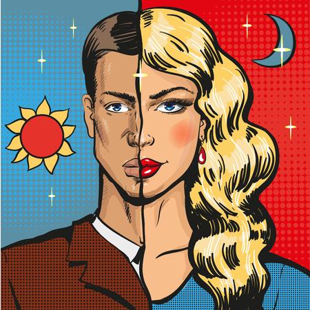 Illustration pour Vector pop art illustration of male wearing feminine clothing - image libre de droit