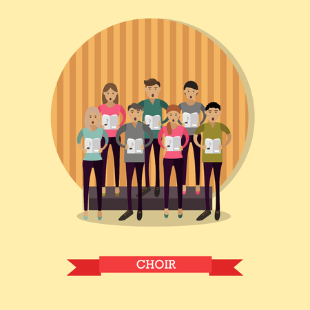 Vector illustration of choir singing without accompaniment. Group of young singers male and female in flat style.