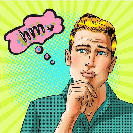 Illustration pour Vector pop art thinking man with speech bubble illustration. - image libre de droit