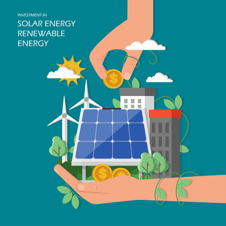 Illustration pour Investment in solar renewable energy concept vector illustration. Green city with wind mills, solar panel, human hands and dollar coins. Flat style design element for web template, poster, banner etc. - image libre de droit