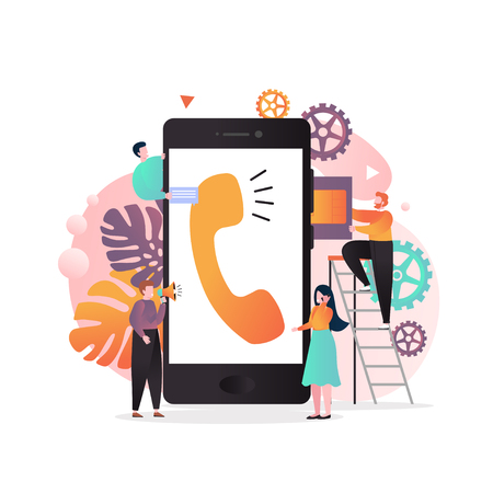 Illustrazione per Vector illustration of big mobile phone and tiny people inserting SIM card into it, using smartphone etc. Wireless cellphone communication, SIM card technology concept for web banner website page etc. - Immagini Royalty Free