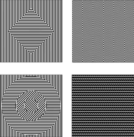 Illustration pour Vector set black and white optical illusions. Seamless texture - image libre de droit