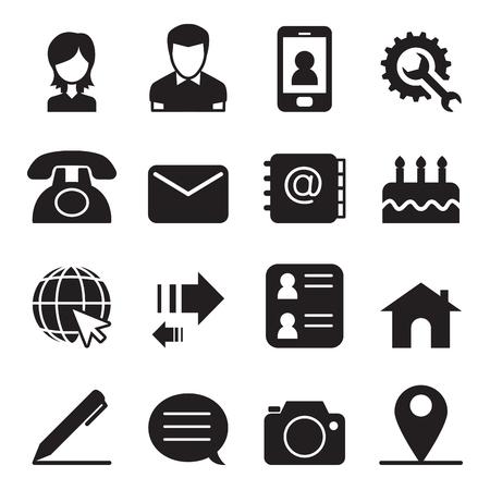 Illustration pour Contact icons set Vector illustration - image libre de droit
