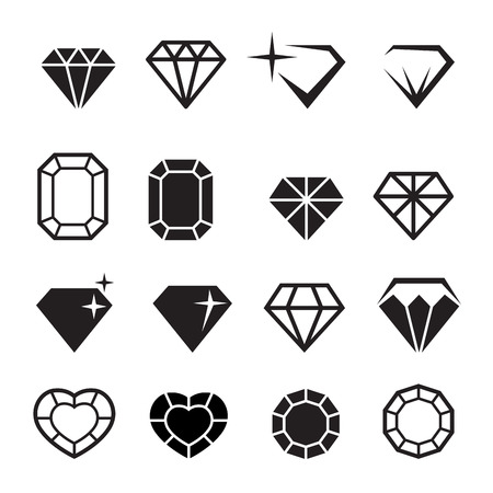 Photo for Diamond icons set vector - Royalty Free Image