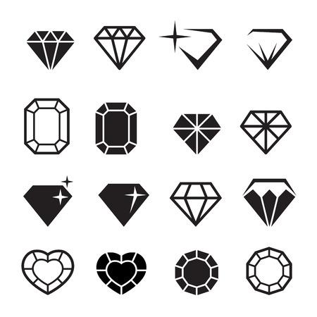 Illustration pour Diamond icons set vector - image libre de droit