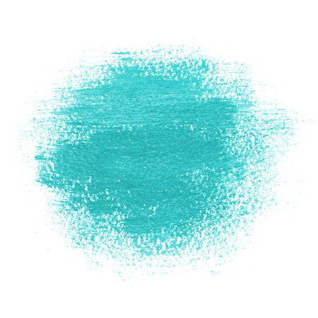 Photo for Round paint spot, drawn with brush stroke. Bright turquoise blue color. Painting background with watercolor paper texture. Grunge edges. - Royalty Free Image