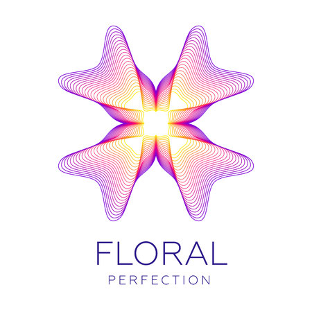 Illustrazione per Fantastic flower icon, abstract shape with lots of blending lines and gradient color. Vector illustration. Sample text - Floral perfection. - Immagini Royalty Free