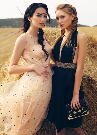 Photo for fashion outdoor photo of gorgeous girls in casual clothes posing on the hay - Royalty Free Image
