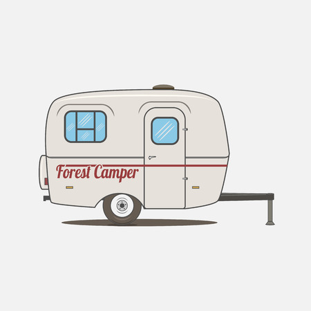 Illustration pour Colorful vintage Rv Car. Retro recreational Vehicle Camper Van.  Isolated Caravan mobile Home for Travel Design - image libre de droit