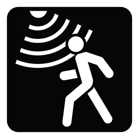 Ilustración de Motion detector solid icon, security and guard, vector graphics, a glyph pattern on a black background - Imagen libre de derechos