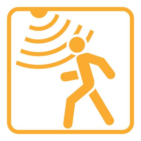 Ilustración de Motion detector solid icon, security and guard, vector graphics, a glyph pattern. - Imagen libre de derechos