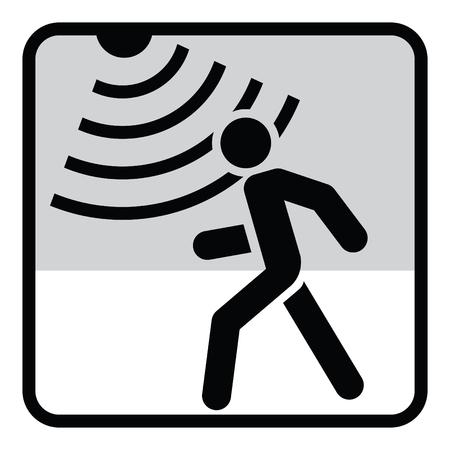 Illustration pour Motion detector solid icon, security and guard, vector graphics, a glyph pattern. - image libre de droit
