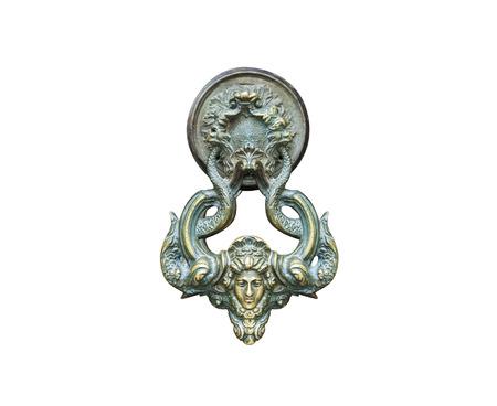 Photo pour Old door metal bronze handle isolated on white background - image libre de droit