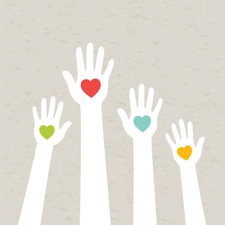 Illustration pour Hands with hearts  Vector illustration  - image libre de droit