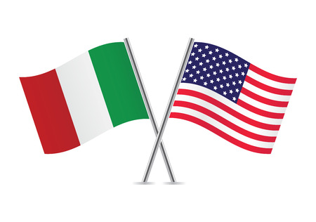 Illustration for American and Italian flags  - Royalty Free Image
