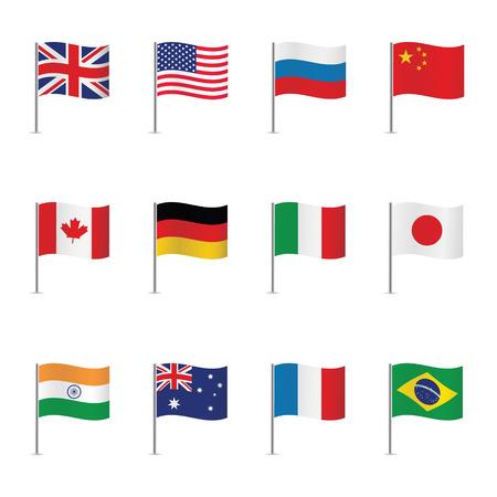 World flags. Vector set.