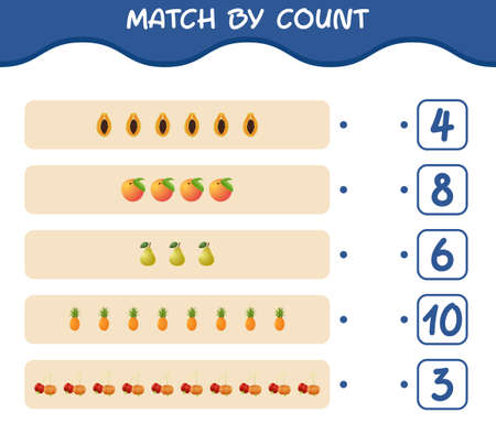 Match by count of cartoon fruits. Match and count game. Educational game for pre shool years kids and toddlers