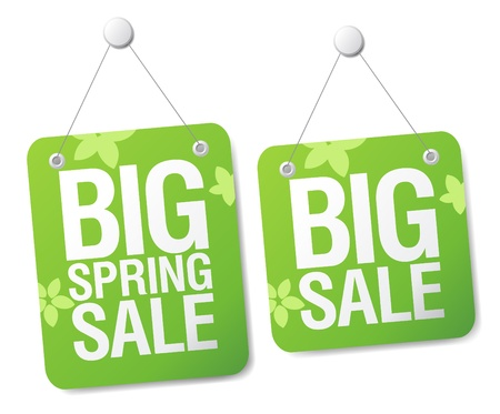Big spring sale signs set.