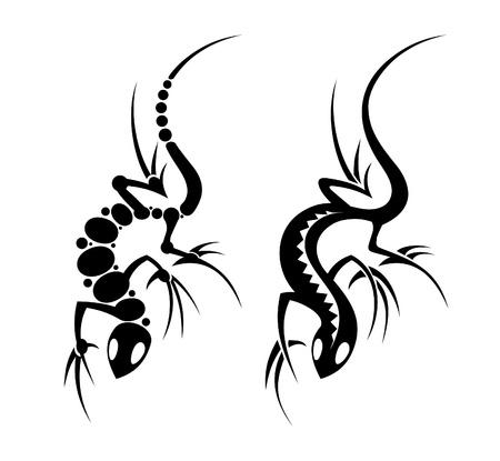 Lizard tribal tattoo art set