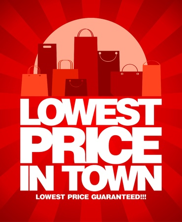 Lowest price in town, sale design with shopping bags
