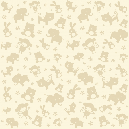 Child seamless pattern with cute animals