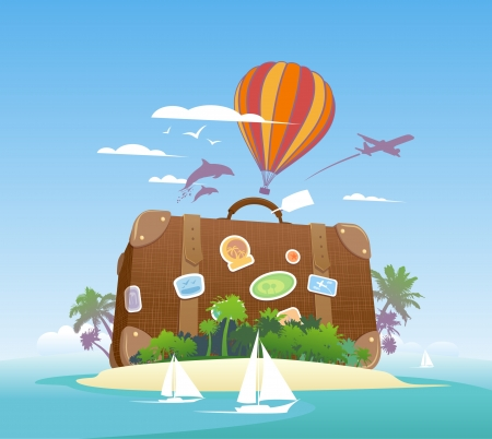 Ilustración de Huge suitcase on a tropical island  Travel design template  - Imagen libre de derechos