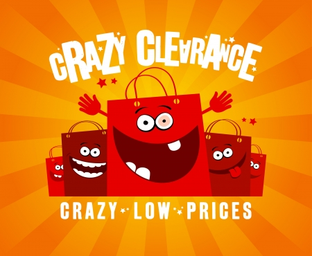 Illustration pour Crazy clearance design template with funny shopping bags - image libre de droit
