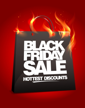 Illustration pour Fiery black friday sale design with shopping bag. Eps10. - image libre de droit