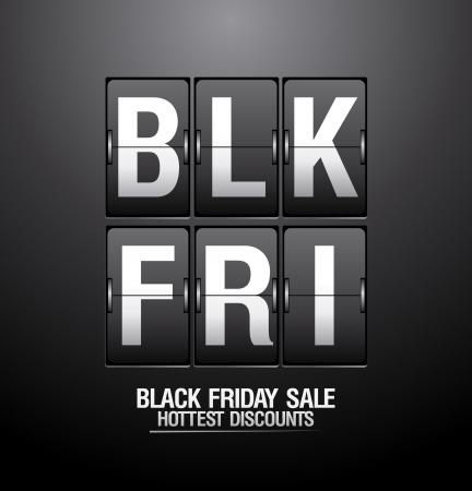 Illustration pour Black friday sale, analog flip clock design  - image libre de droit