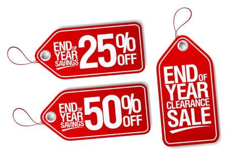 Illustration pour End of year sale savings labels set. - image libre de droit