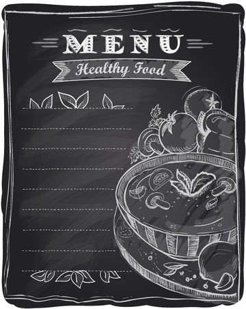 Ilustración de Chalk healthy food menu, chalkboard background with soup and place for text. - Imagen libre de derechos