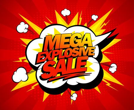 Illustration pour Mega explosive sale design, comics style. - image libre de droit