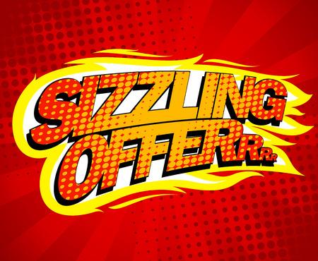 Illustration pour Sizzling offer sale design, pop-art style. - image libre de droit