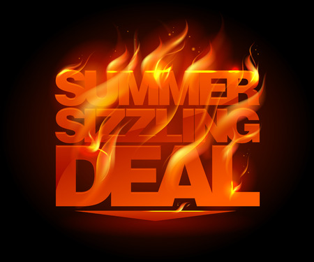 Illustration pour Fiery summer sizzling deal design template. - image libre de droit