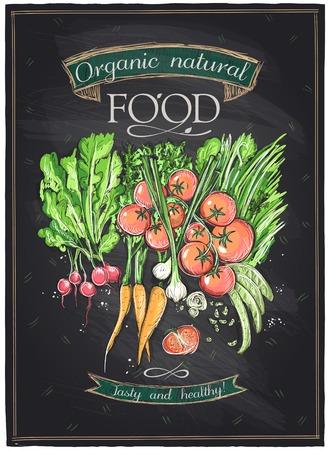 Illustration for Chalkboard organic natural food, vegetables background.  - Royalty Free Image