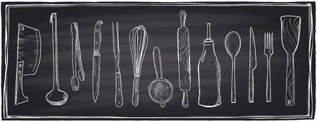 Illustration pour Hand drawn set of kitchen utensils on a chalkboard background.  - image libre de droit