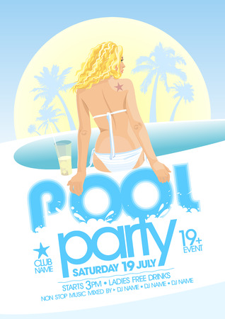 Illustration for Pool party design template. Eps10 - Royalty Free Image