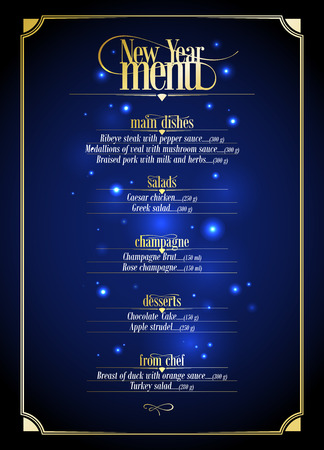 Ilustración de New Year menu list, dark blue with gold design with place for text. Eps10 - Imagen libre de derechos
