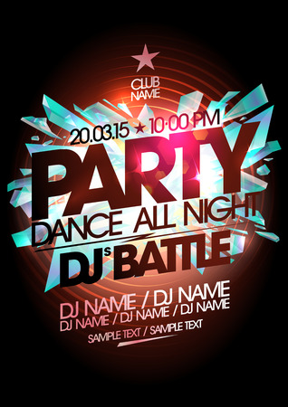 Illustration for Dance party, dj battle design with place for text. - Royalty Free Image