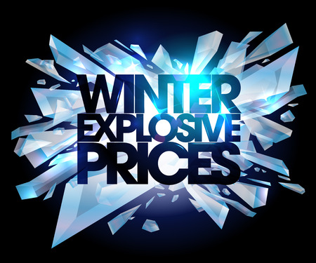 Illustration for Winter explosive prices, sale design. - Royalty Free Image