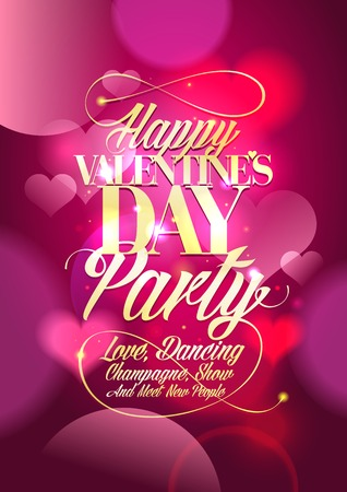 Illustration pour Valentine day party design with pink bokeh hearts backdrop. - image libre de droit
