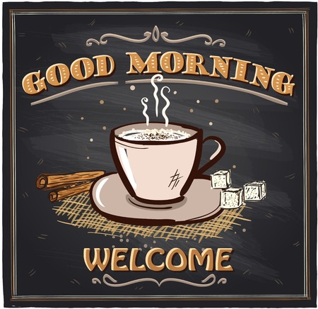 Illustration pour Good morning chalkboard cafe sign with coffee mug. - image libre de droit