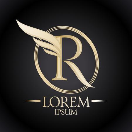 Illustration pour Elegant letter R with wing logo template. - image libre de droit