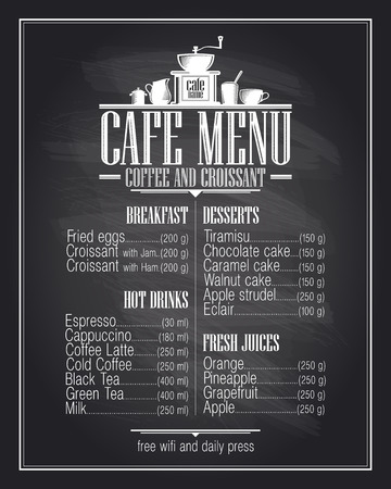 Ilustración de Chalkboard cafe menu list design with dishes name, retro style. - Imagen libre de derechos