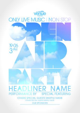 Illustration pour Open air party poster with text silhouette against sky. - image libre de droit